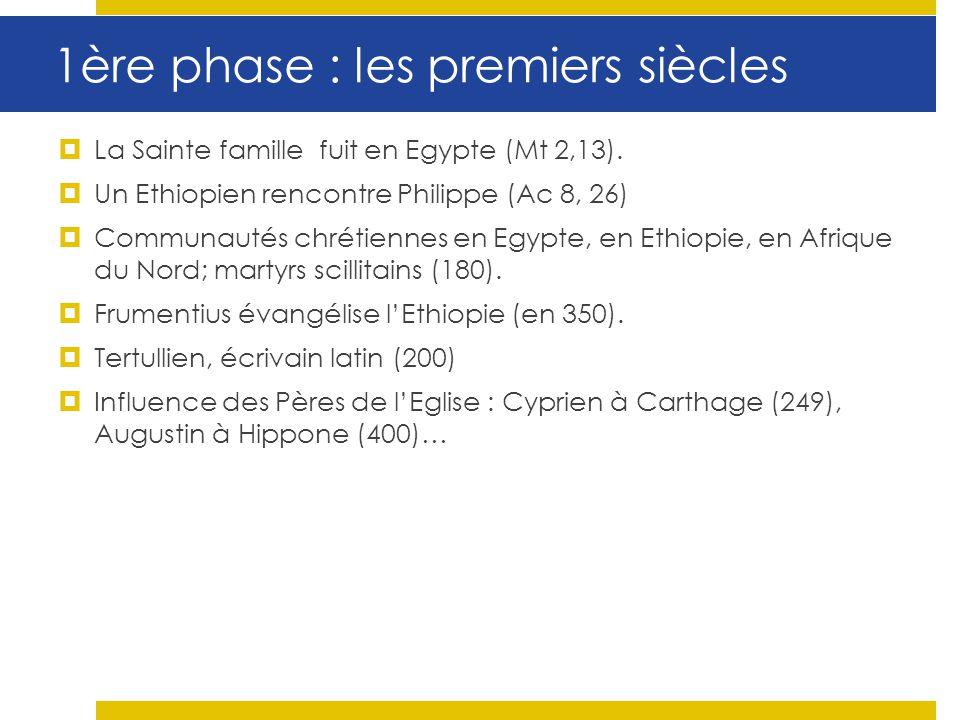 1ère phase : les premiers siècles La Sainte famille fuit en Egypte (Mt 2,13). Un Ethiopien rencontre Philippe (Ac 8, 26) Communautés chrétiennes en Eg