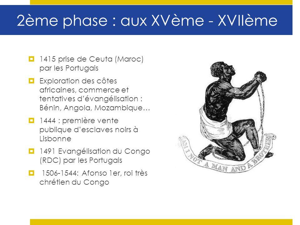 2ème phase : aux XVème - XVIIème 1415 prise de Ceuta (Maroc) par les Portugais Exploration des côtes africaines, commerce et tentatives dévangélisatio