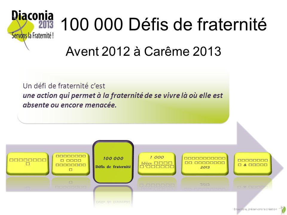 100 000 Défis de fraternité Avent 2012 à Carême 2013 Un défi de fraternité cest une action qui permet à la fraternité de se vivre là où elle est absente ou encore menacée.