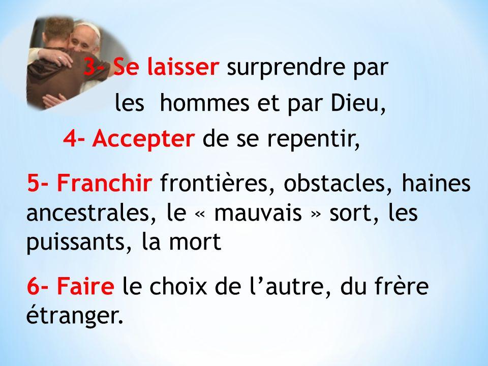 3- Se laisser surprendre par les hommes et par Dieu, 4- Accepter de se repentir, 5- Franchir frontières, obstacles, haines ancestrales, le « mauvais »