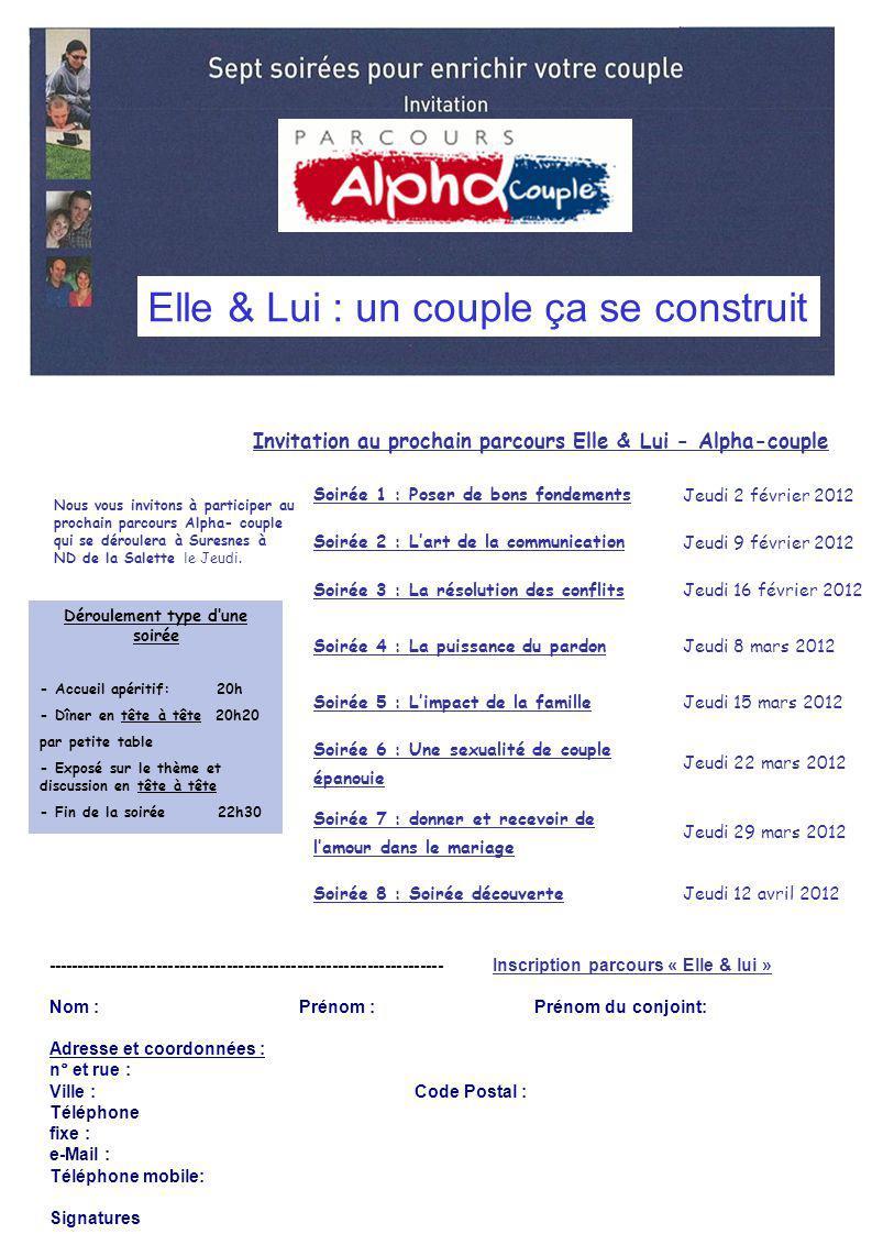 Invitation au prochain parcours Elle & Lui - Alpha-couple Nous vous invitons à participer au prochain parcours Alpha- couple qui se déroulera à Suresn