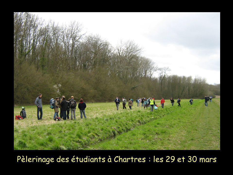 Pèlerinage des étudiants à Chartres : les 29 et 30 mars