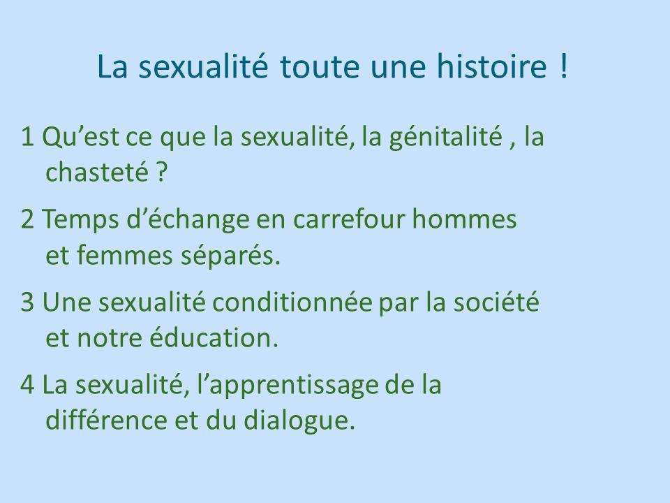 La sexualité toute une histoire ! 1 Quest ce que la sexualité, la génitalité, la chasteté ? 2 Temps déchange en carrefour hommes et femmes séparés. 3