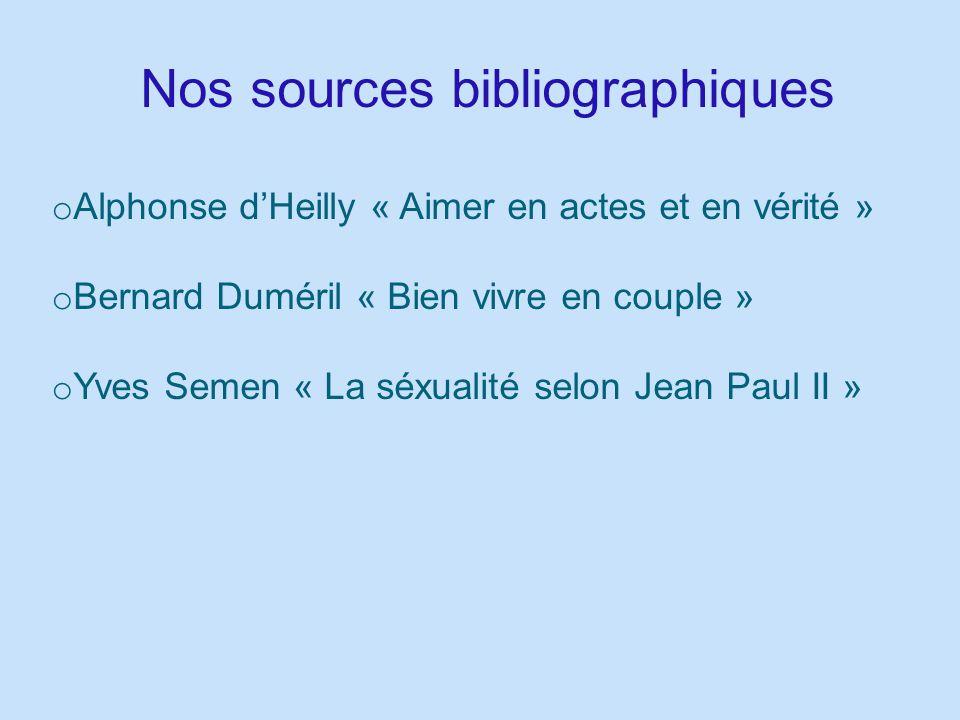 Nos sources bibliographiques o Alphonse dHeilly « Aimer en actes et en vérité » o Bernard Duméril « Bien vivre en couple » o Yves Semen « La séxualité