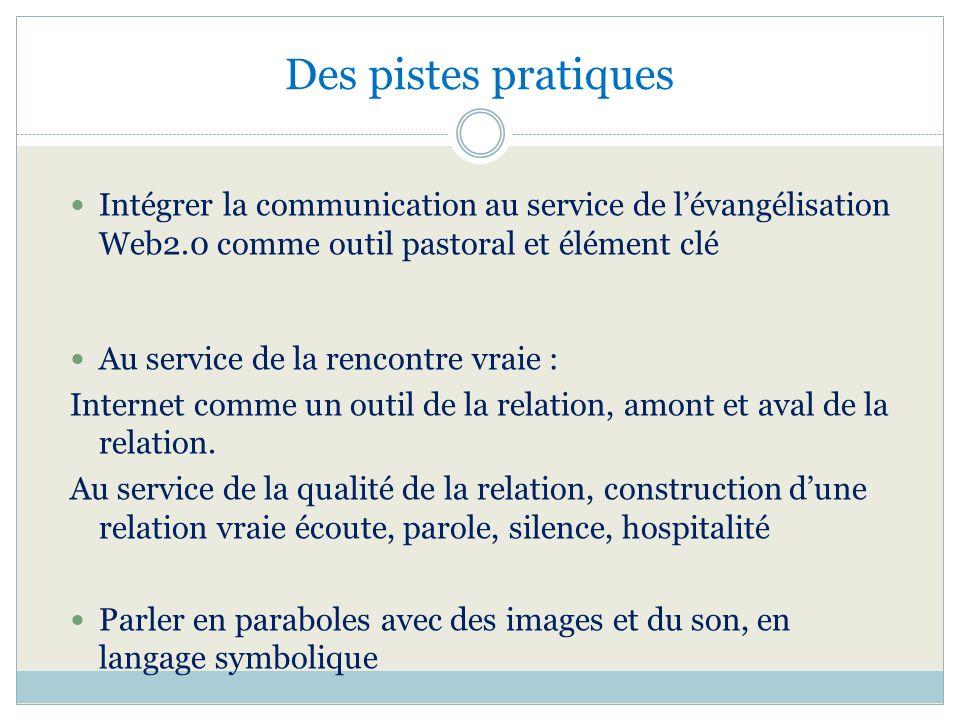 Des pistes pratiques Intégrer la communication au service de lévangélisation Web2.0 comme outil pastoral et élément clé Au service de la rencontre vra