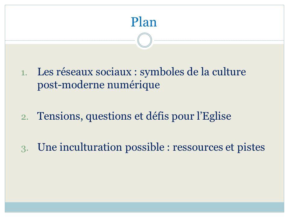 Plan 1. Les réseaux sociaux : symboles de la culture post-moderne numérique 2. Tensions, questions et défis pour lEglise 3. Une inculturation possible