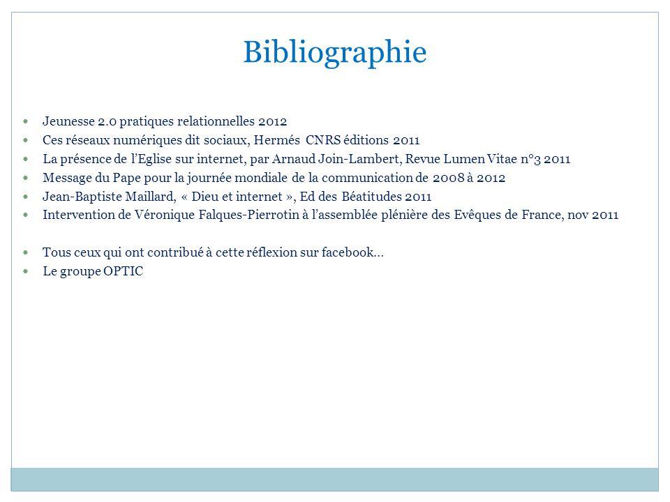 Bibliographie Jeunesse 2.0 pratiques relationnelles 2012 Ces réseaux numériques dit sociaux, Hermés CNRS éditions 2011 La présence de lEglise sur inte