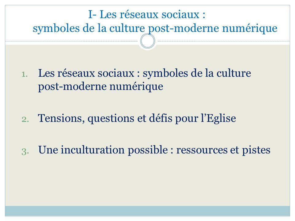 I- Les réseaux sociaux : symboles de la culture post-moderne numérique 1. Les réseaux sociaux : symboles de la culture post-moderne numérique 2. Tensi