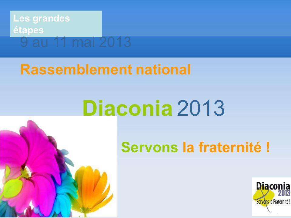 Les grandes étapes 9 au 11 mai 2013 Rassemblement national Servons la fraternité ! Diaconia 2013