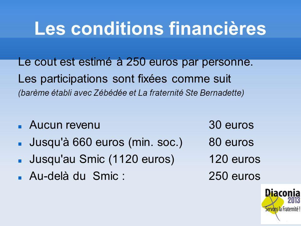 Les conditions financières Le cout est estimé à 250 euros par personne.
