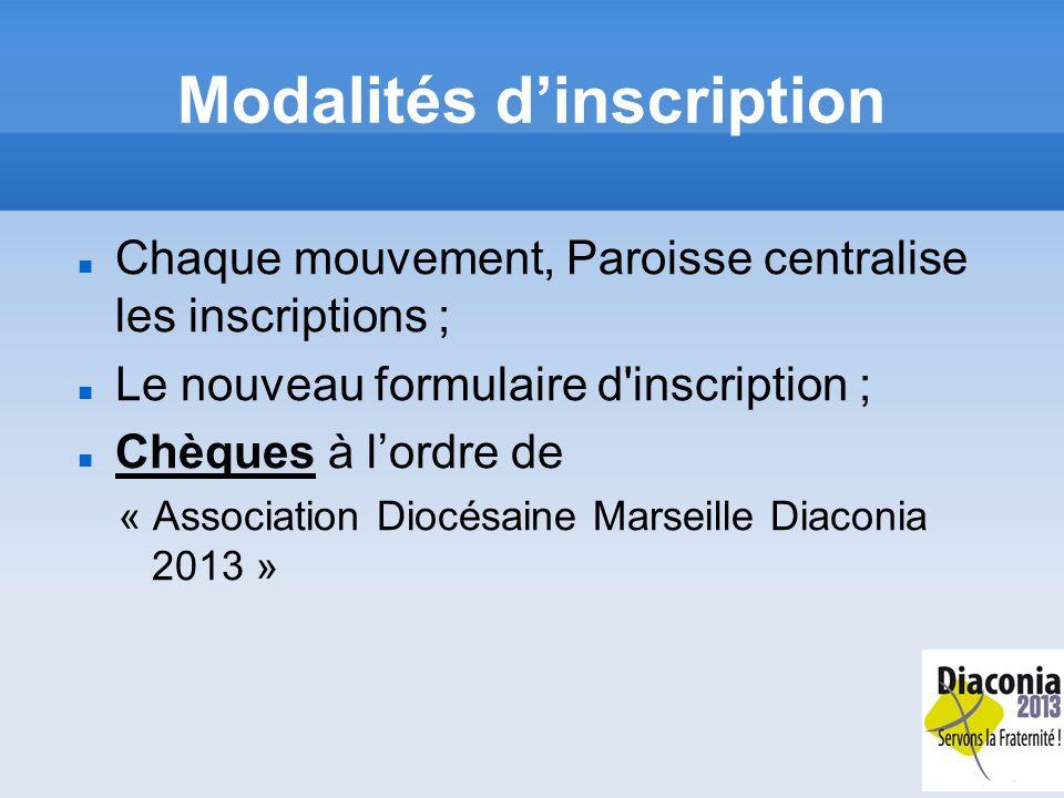 Modalités dinscription Chaque mouvement, Paroisse centralise les inscriptions ; Le nouveau formulaire d inscription ; Chèques à lordre de « Association Diocésaine Marseille Diaconia 2013 »
