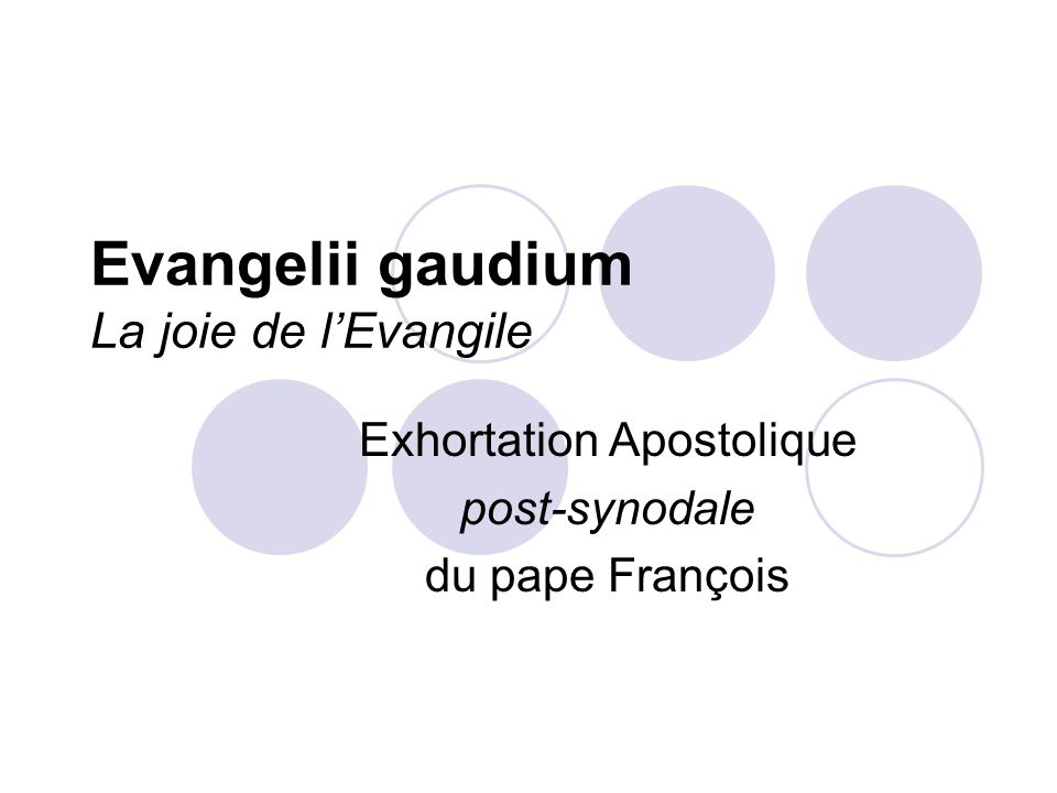 Evangelii gaudium La joie de lEvangile Exhortation Apostolique post-synodale du pape François