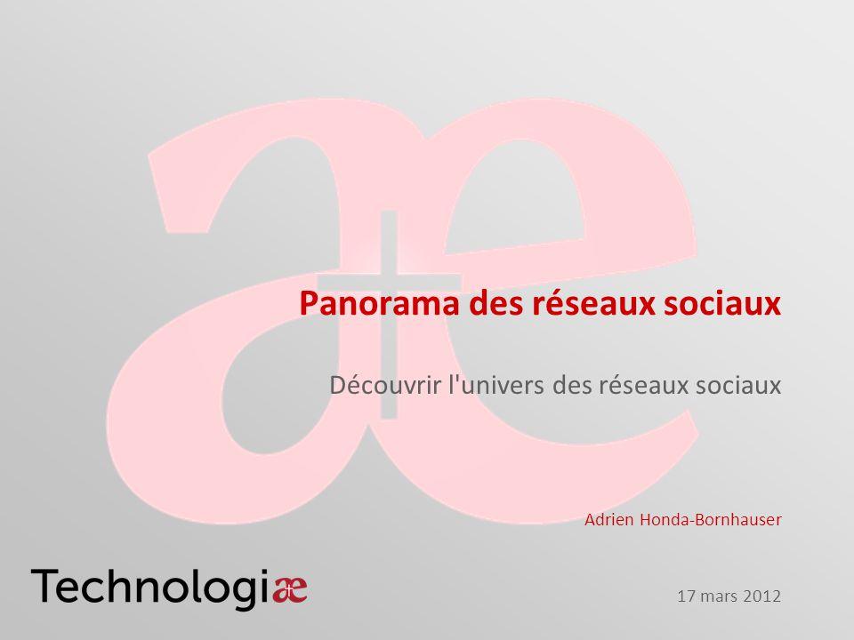 17 mars 2012 Panorama des réseaux sociaux Découvrir l'univers des réseaux sociaux Adrien Honda-Bornhauser