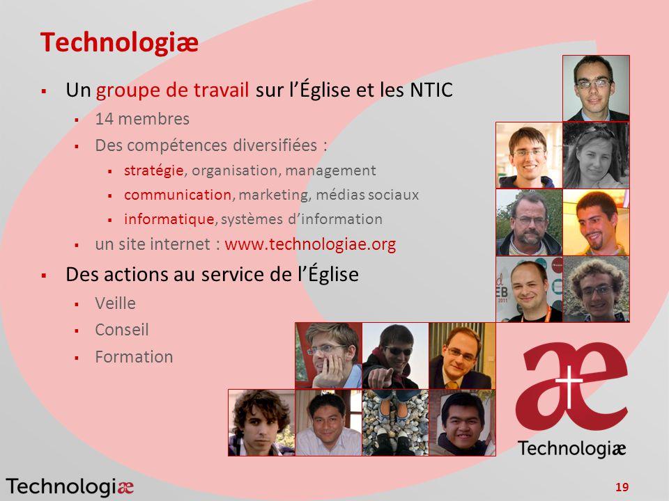 19 Technologiæ Un groupe de travail sur lÉglise et les NTIC 14 membres Des compétences diversifiées : stratégie, organisation, management communicatio