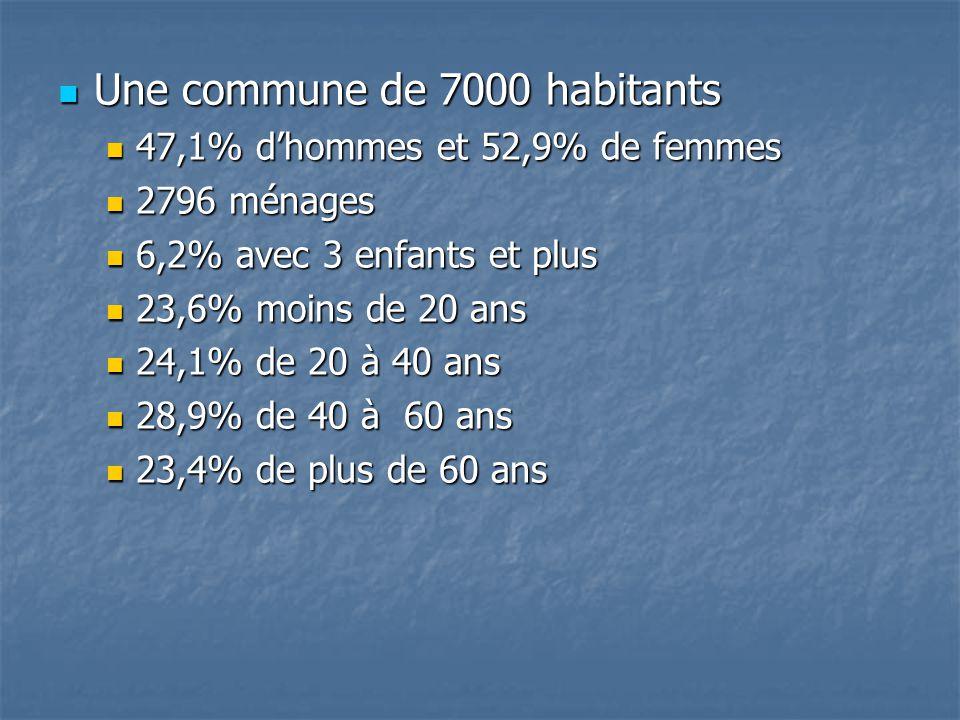 Une commune de 7000 habitants Une commune de 7000 habitants 47,1% dhommes et 52,9% de femmes 47,1% dhommes et 52,9% de femmes 2796 ménages 2796 ménages 6,2% avec 3 enfants et plus 6,2% avec 3 enfants et plus 23,6% moins de 20 ans 23,6% moins de 20 ans 24,1% de 20 à 40 ans 24,1% de 20 à 40 ans 28,9% de 40 à 60 ans 28,9% de 40 à 60 ans 23,4% de plus de 60 ans 23,4% de plus de 60 ans