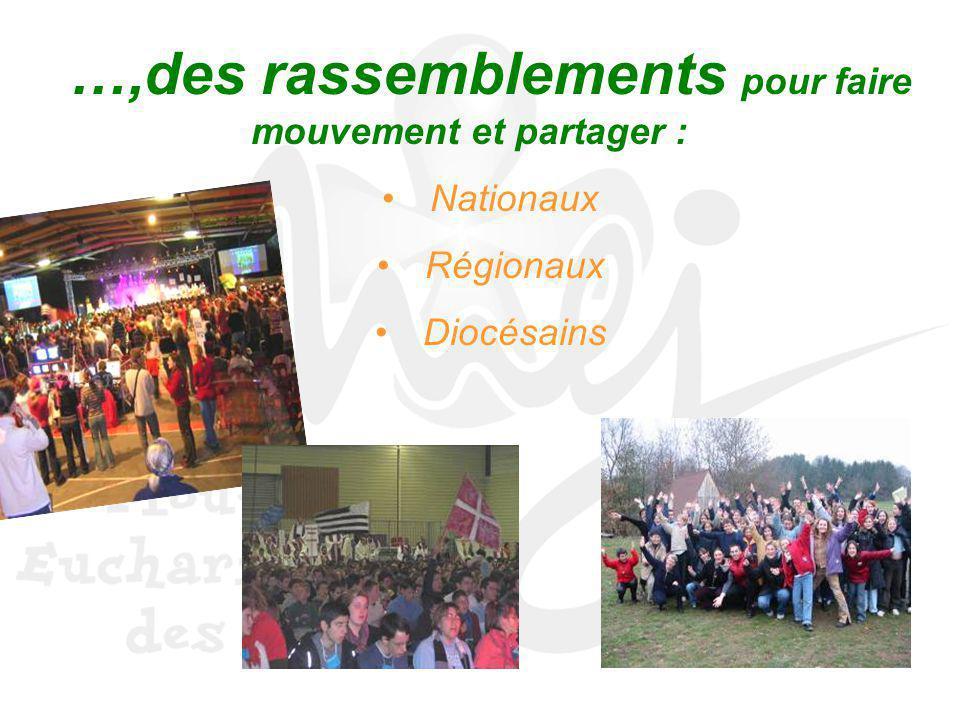 …,des rassemblements pour faire mouvement et partager : Nationaux Régionaux Diocésains