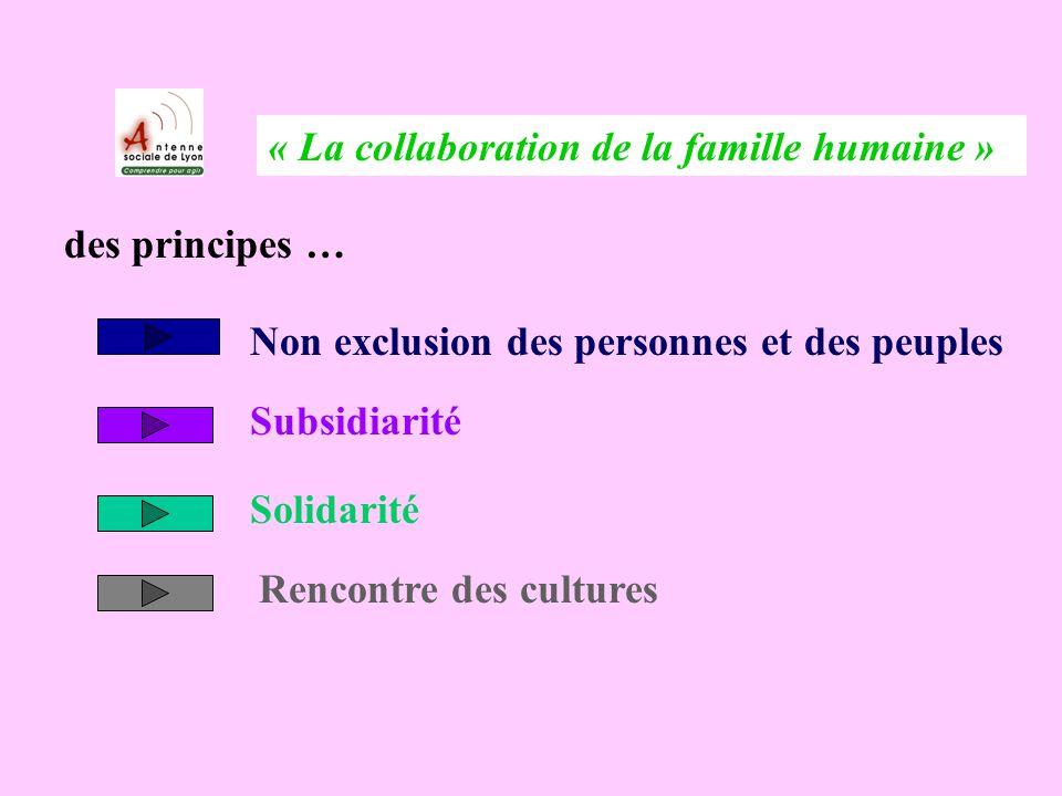 « La collaboration de la famille humaine » des principes … Non exclusion des personnes et des peuples Subsidiarité Solidarité Rencontre des cultures