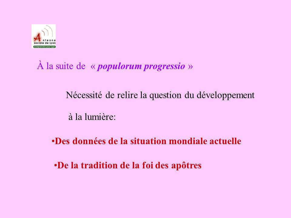 À la suite de « populorum progressio » Nécessité de relire la question du développement à la lumière: Des données de la situation mondiale actuelle De la tradition de la foi des apôtres