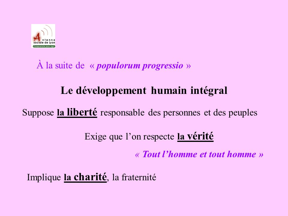 À la suite de « populorum progressio » Le développement humain intégral Suppose la liberté responsable des personnes et des peuples Exige que lon respecte la vérité « Tout lhomme et tout homme » Implique la charité, la fraternité