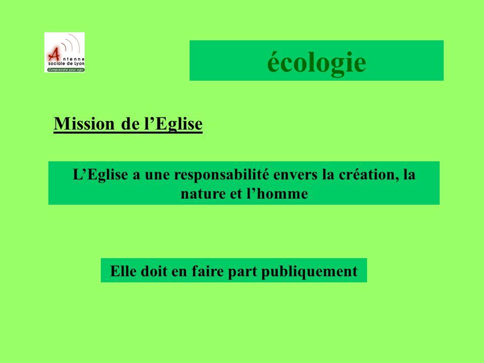 écologie Mission de lEglise LEglise a une responsabilité envers la création, la nature et lhomme Elle doit en faire part publiquement