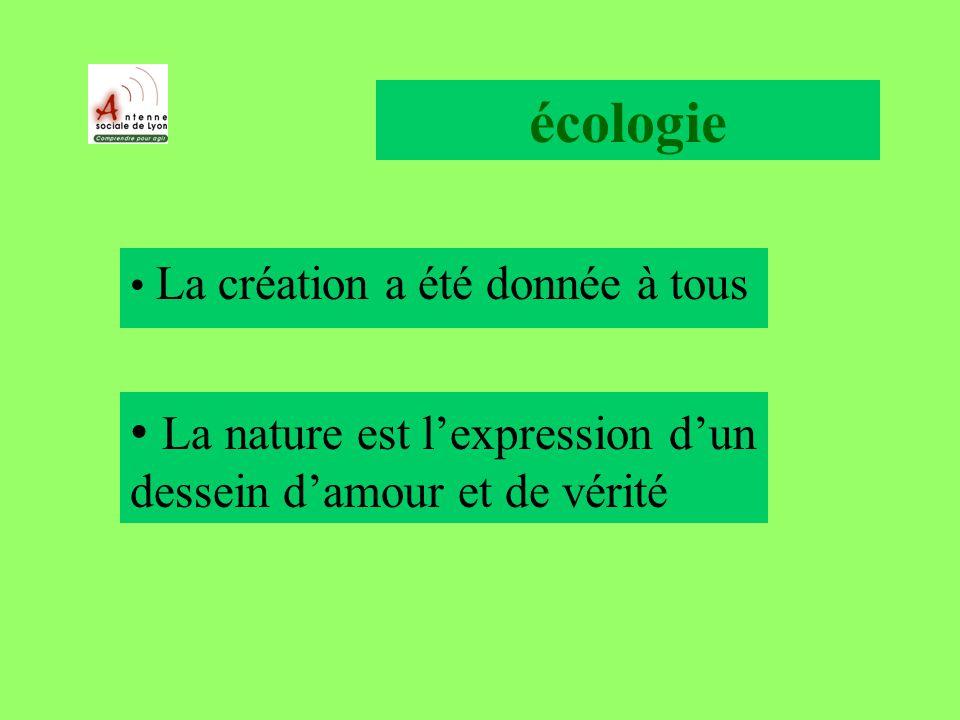 écologie La création a été donnée à tous La nature est lexpression dun dessein damour et de vérité