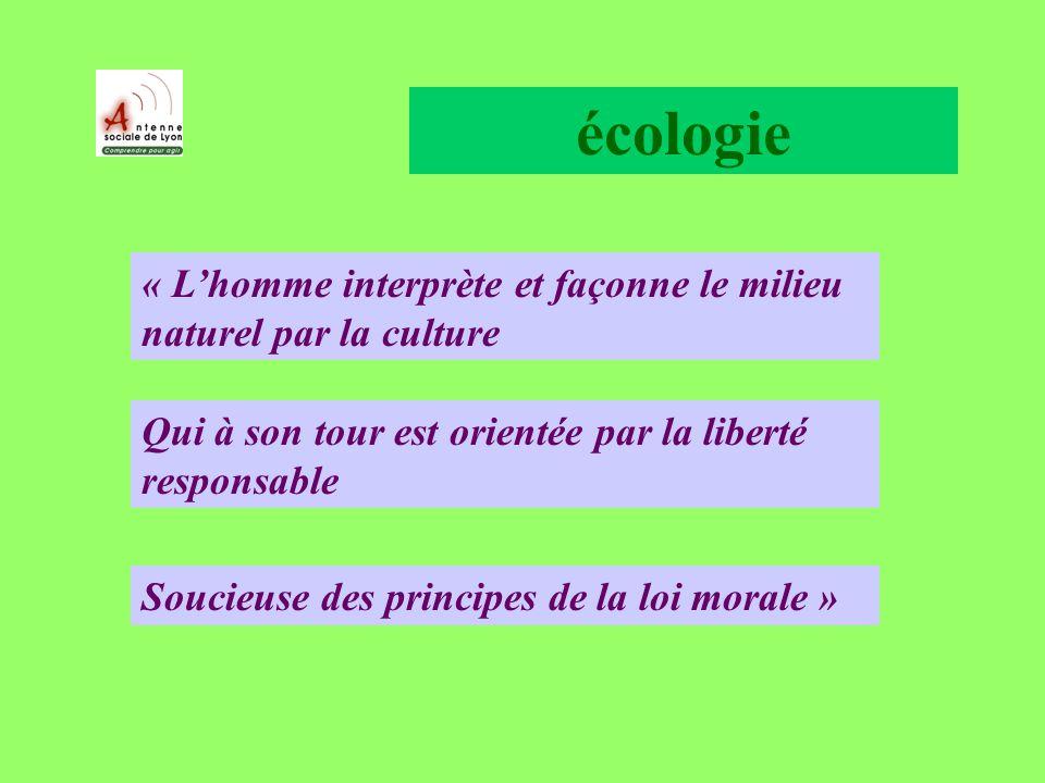 écologie Qui à son tour est orientée par la liberté responsable « Lhomme interprète et façonne le milieu naturel par la culture Soucieuse des principes de la loi morale »