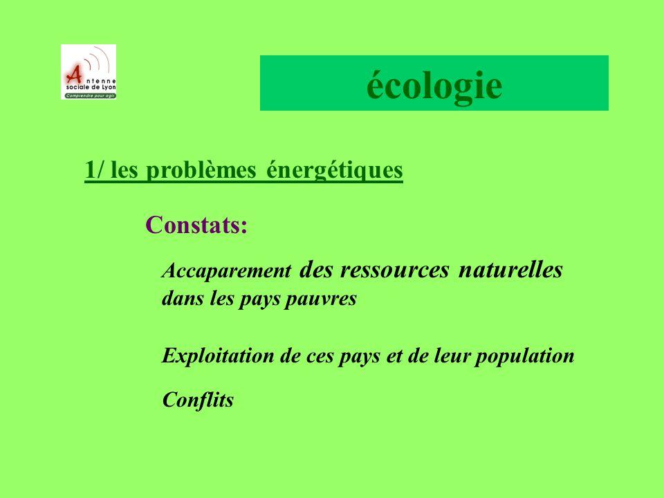 écologie 1/ les problèmes énergétiques Constats: Accaparement des ressources naturelles dans les pays pauvres Exploitation de ces pays et de leur population Conflits