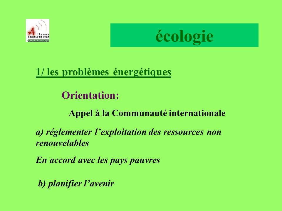 écologie 1/ les problèmes énergétiques Orientation: Appel à la Communauté internationale a) réglementer lexploitation des ressources non renouvelables En accord avec les pays pauvres b) planifier lavenir