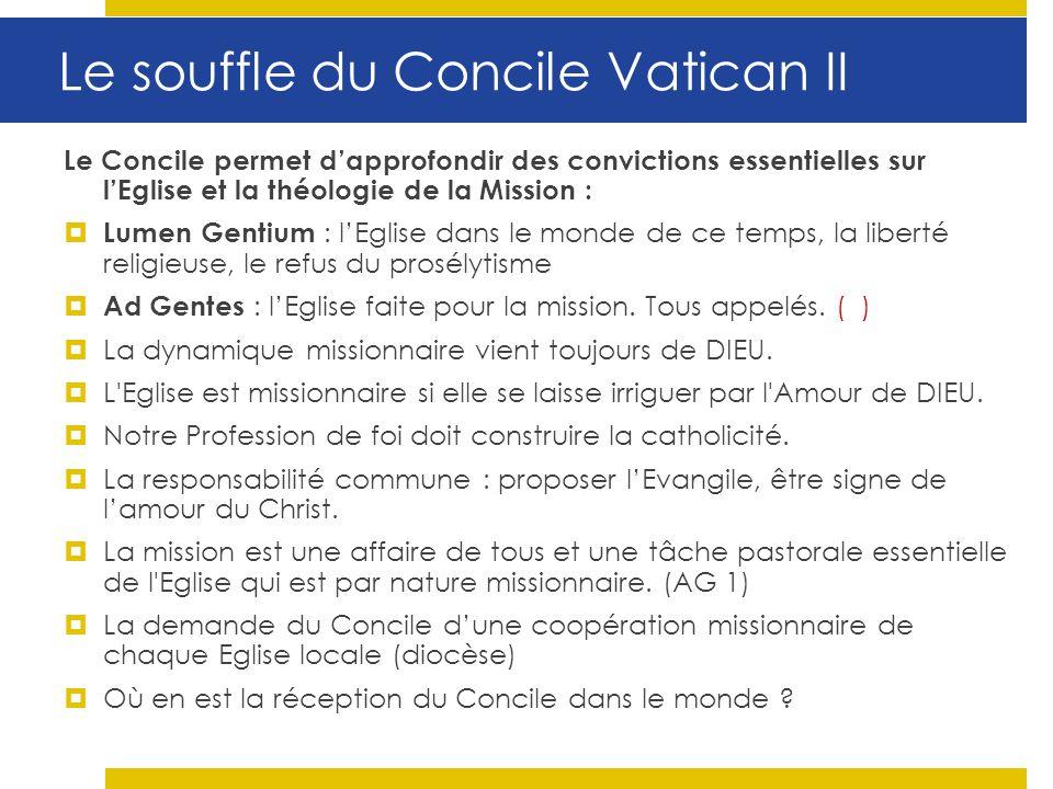 Le Concile permet dapprofondir des convictions essentielles sur lEglise et la théologie de la Mission : Lumen Gentium : lEglise dans le monde de ce te