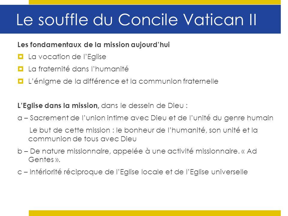 Le souffle du Concile Vatican II Les fondamentaux de la mission aujourdhui La vocation de lEglise La fraternité dans lhumanité Lénigme de la différenc