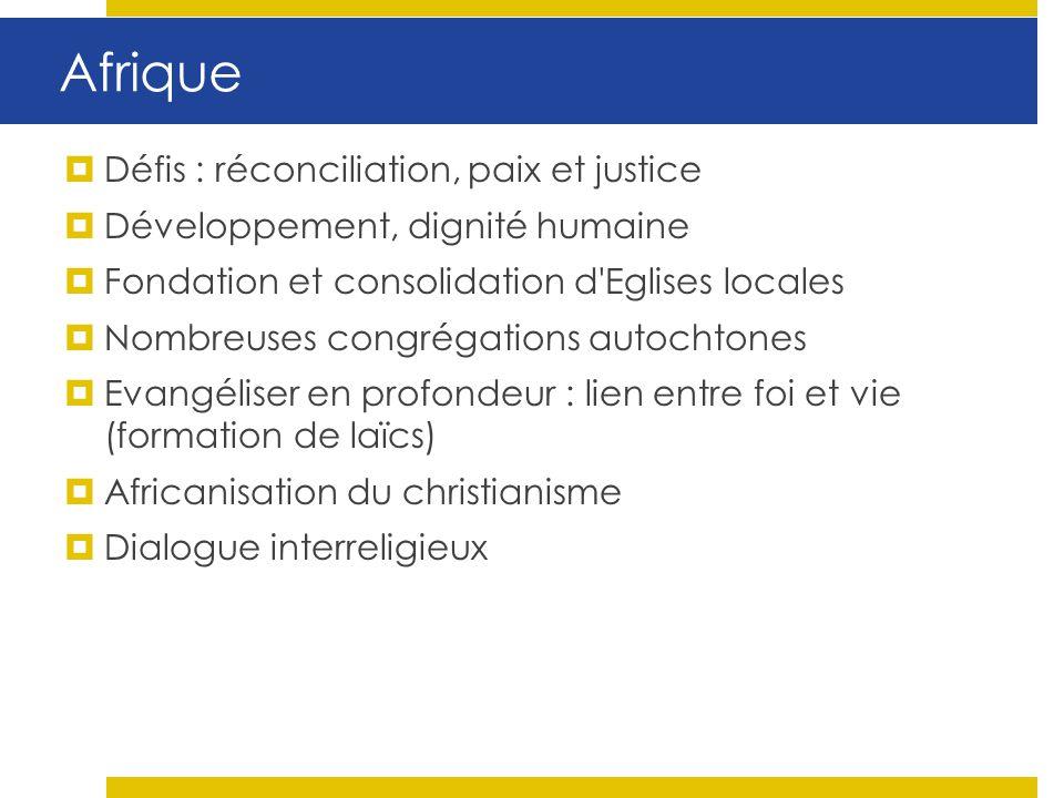 Afrique Défis : réconciliation, paix et justice Développement, dignité humaine Fondation et consolidation d'Eglises locales Nombreuses congrégations a
