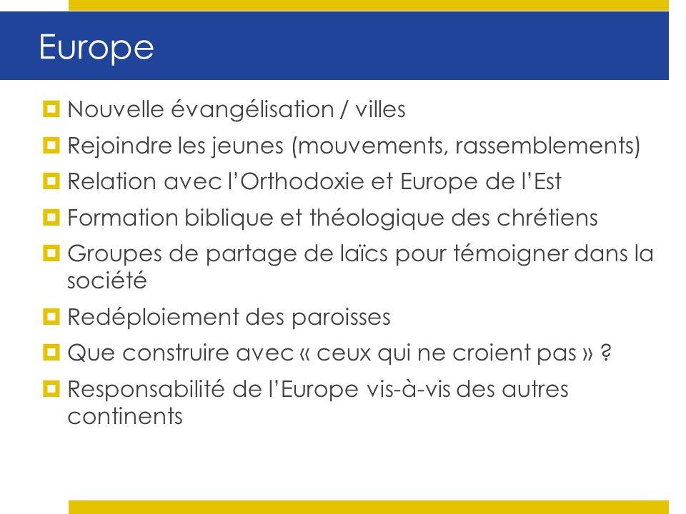 Europe Nouvelle évangélisation / villes Rejoindre les jeunes (mouvements, rassemblements) Relation avec lOrthodoxie et Europe de lEst Formation bibliq