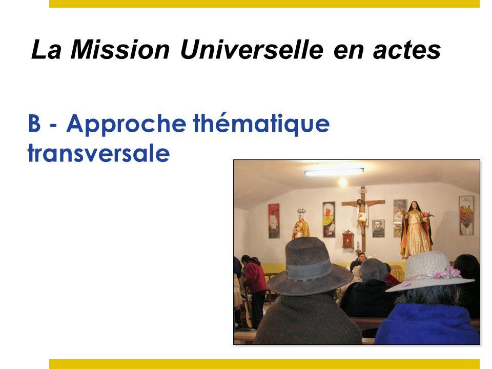 Les thèmes de la Mission Universelle Le besoin de découvrir la Parole de Dieu Lexpérience de première annonce La rencontre de lautre.
