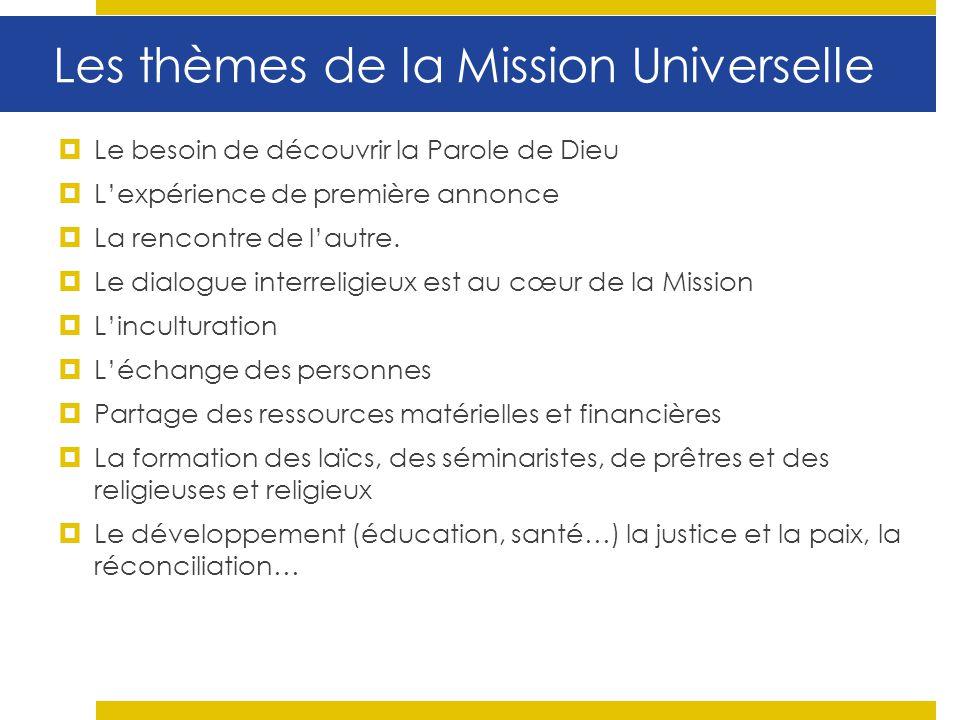 Les thèmes de la Mission Universelle Le besoin de découvrir la Parole de Dieu Lexpérience de première annonce La rencontre de lautre. Le dialogue inte