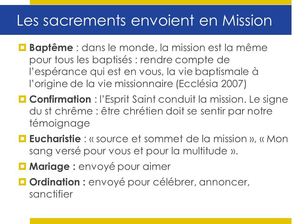 Baptême : dans le monde, la mission est la même pour tous les baptisés : rendre compte de lespérance qui est en vous, la vie baptismale à lorigine de
