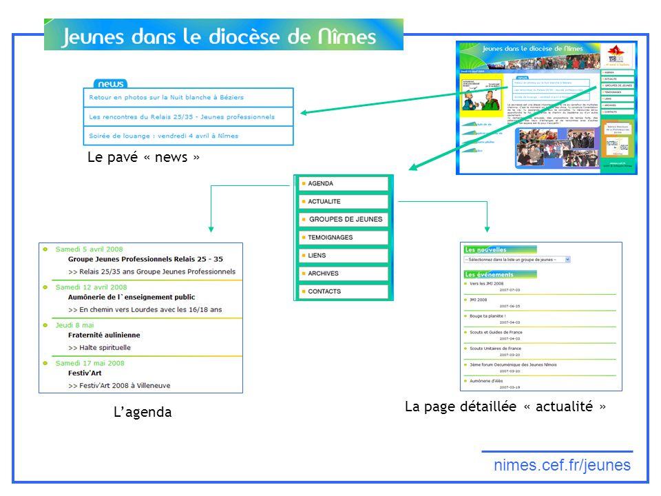 nimes.cef.fr/jeunes Le pavé « news » La page détaillée « actualité » Lagenda