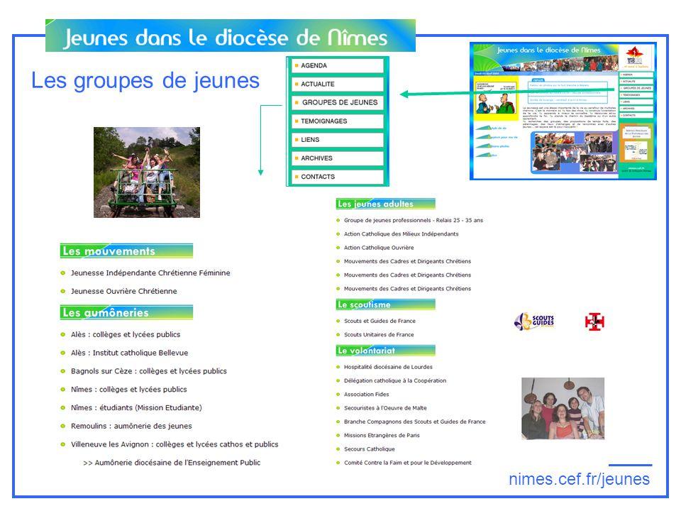 nimes.cef.fr/jeunes Les groupes de jeunes