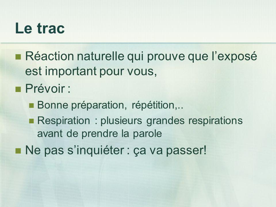 Le trac Réaction naturelle qui prouve que lexposé est important pour vous, Prévoir : Bonne préparation, répétition,.. Respiration : plusieurs grandes