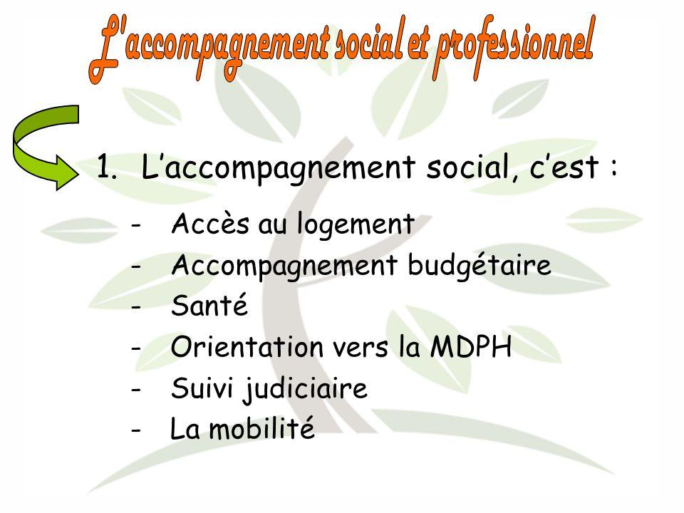1.Laccompagnement social, cest : -Accès au logement -Accompagnement budgétaire -Santé -Orientation vers la MDPH -Suivi judiciaire -La mobilité