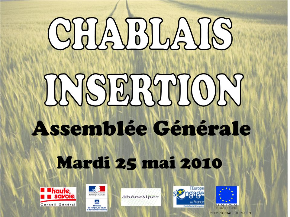 Assemblée Générale Mardi 25 mai 2010 FONDS SOCIAL EUROPEEN