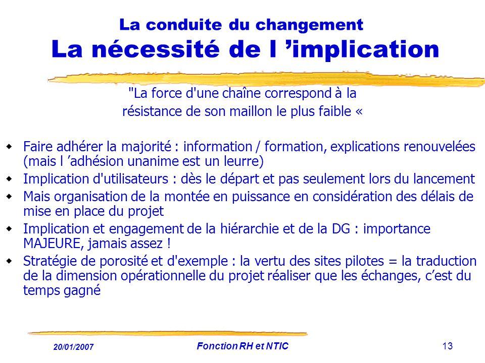 20/01/2007 Fonction RH et NTIC13 La conduite du changement La nécessité de l implication