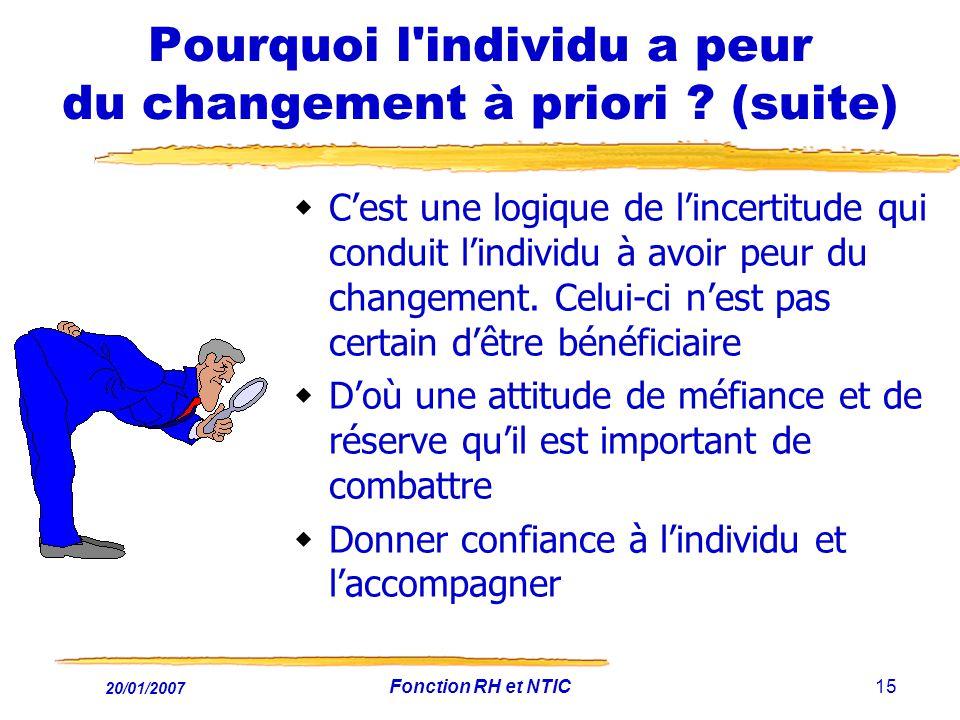20/01/2007 Fonction RH et NTIC15 Pourquoi l'individu a peur du changement à priori ? (suite) Cest une logique de lincertitude qui conduit lindividu à