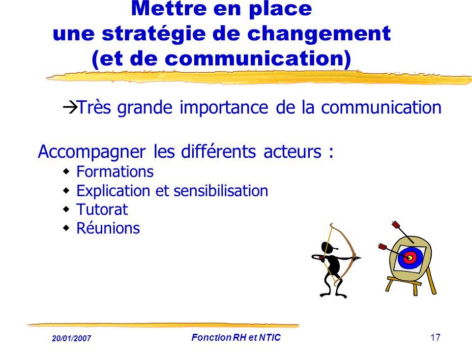 20/01/2007 Fonction RH et NTIC17 Mettre en place une stratégie de changement (et de communication) Très grande importance de la communication Accompag