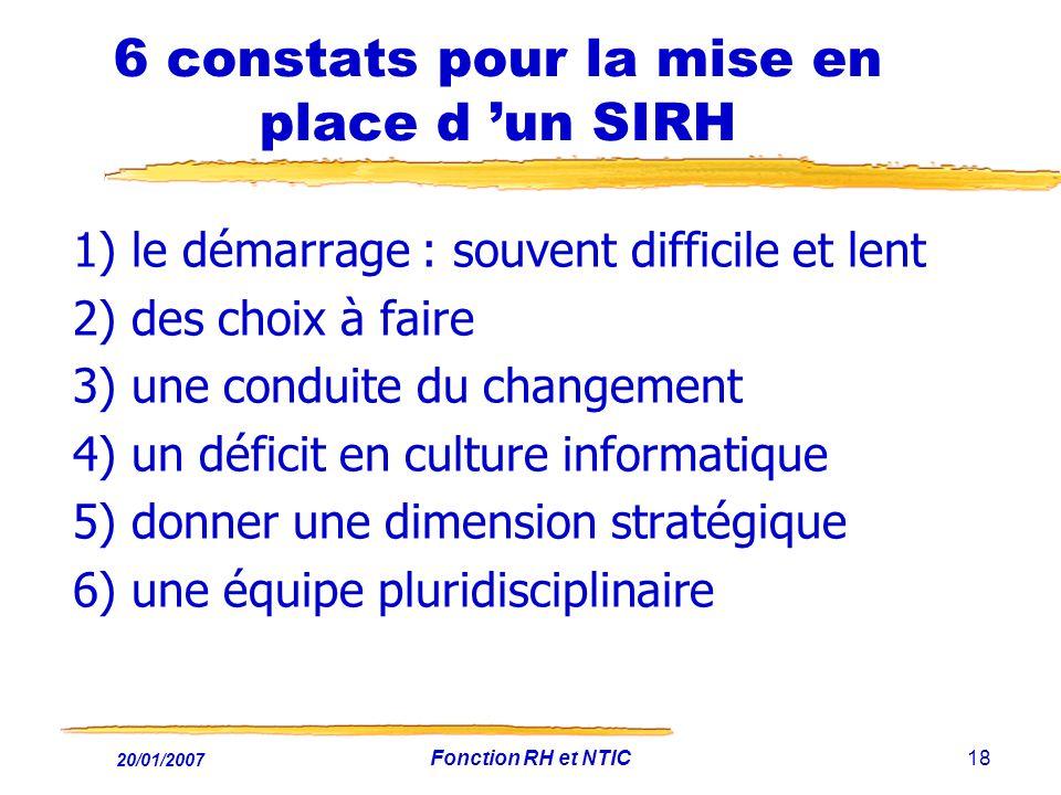 20/01/2007 Fonction RH et NTIC18 6 constats pour la mise en place d un SIRH 1) le démarrage : souvent difficile et lent 2) des choix à faire 3) une co