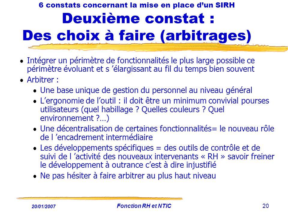 20/01/2007 Fonction RH et NTIC20 6 constats concernant la mise en place dun SIRH Deuxième constat : Des choix à faire (arbitrages) Intégrer un périmèt