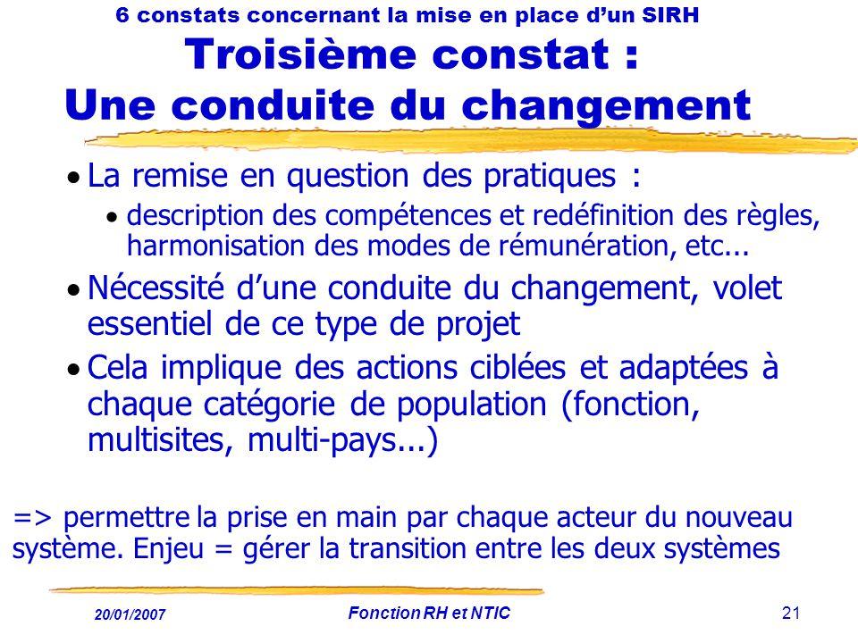 20/01/2007 Fonction RH et NTIC21 6 constats concernant la mise en place dun SIRH Troisième constat : Une conduite du changement La remise en question