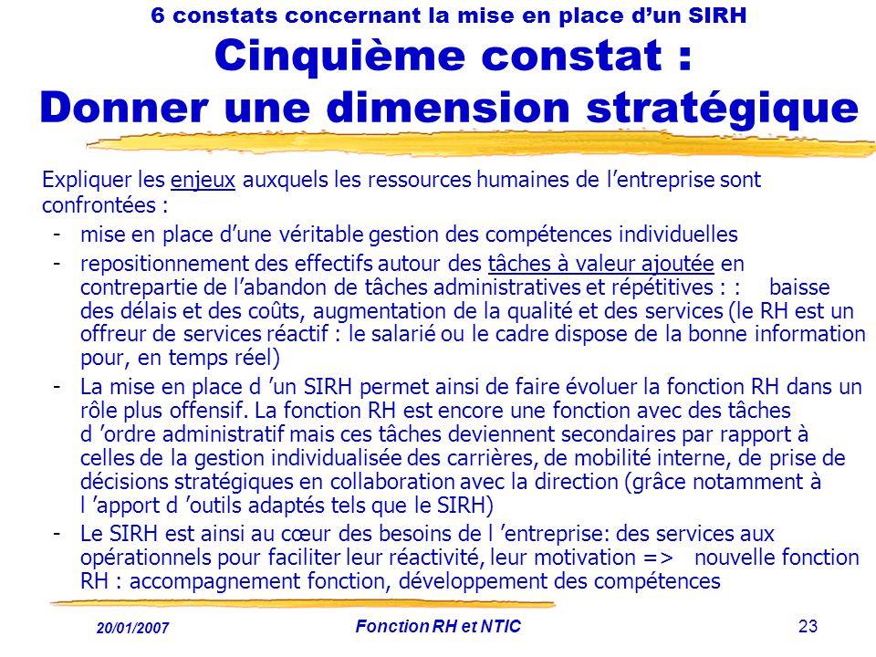 20/01/2007 Fonction RH et NTIC23 6 constats concernant la mise en place dun SIRH Cinquième constat : Donner une dimension stratégique Expliquer les en