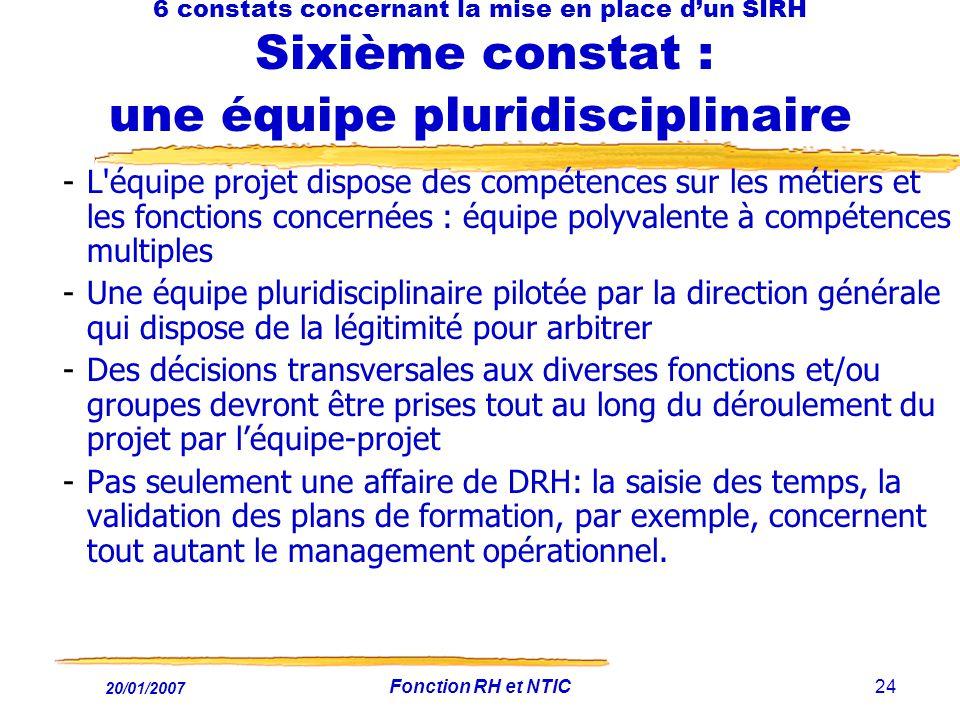 20/01/2007 Fonction RH et NTIC24 6 constats concernant la mise en place dun SIRH Sixième constat : une équipe pluridisciplinaire -L'équipe projet disp