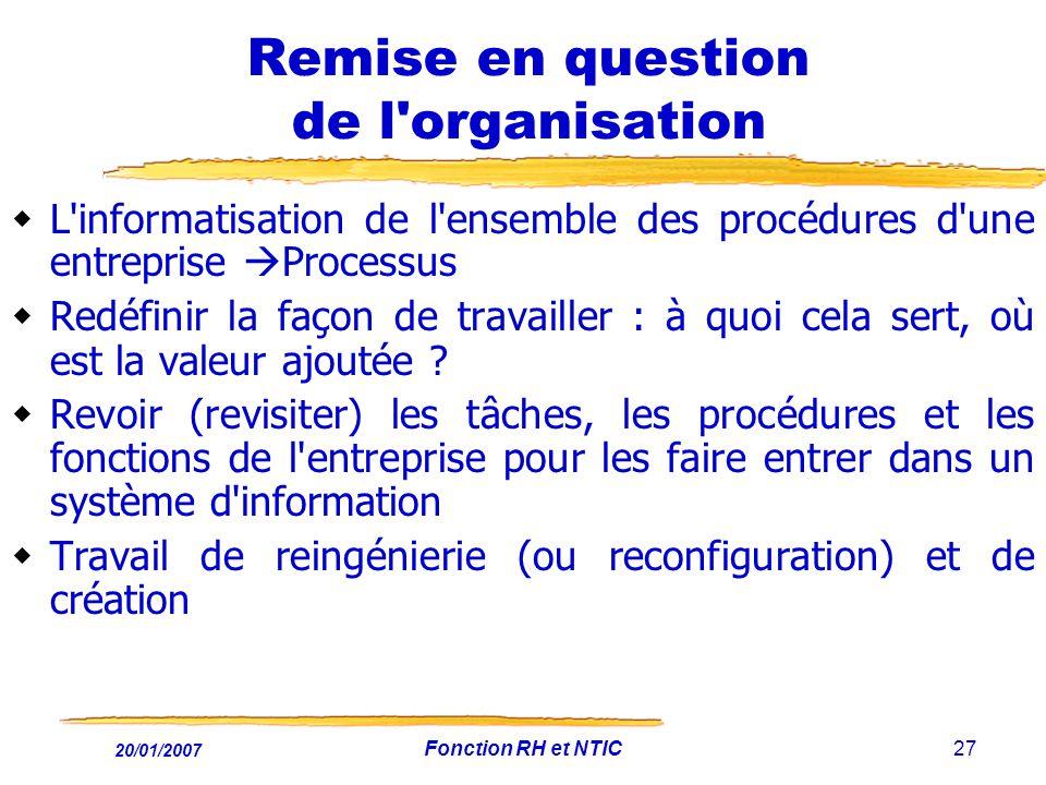 20/01/2007 Fonction RH et NTIC27 Remise en question de l'organisation L'informatisation de l'ensemble des procédures d'une entreprise Processus Redéfi