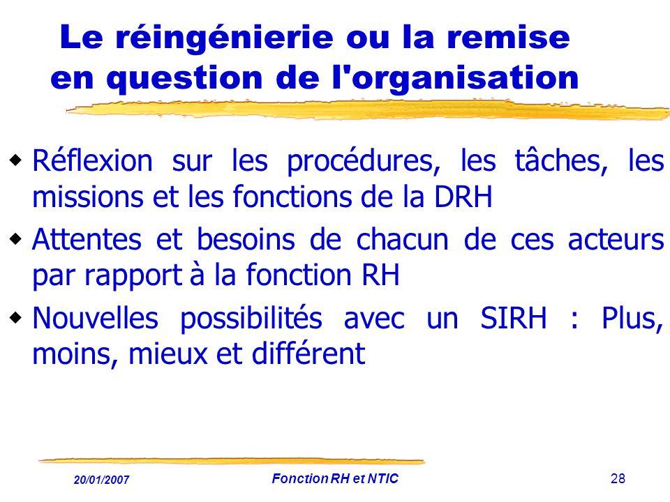 20/01/2007 Fonction RH et NTIC28 Le réingénierie ou la remise en question de l'organisation Réflexion sur les procédures, les tâches, les missions et